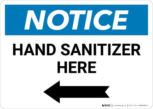Notice: Hand Sanitizer Here Left Arrow Landscape - Wall Sign