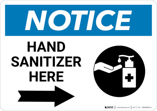 Notice: Hand Sanitizer Here Right Arrow with Icon Landscape - Wall Sign
