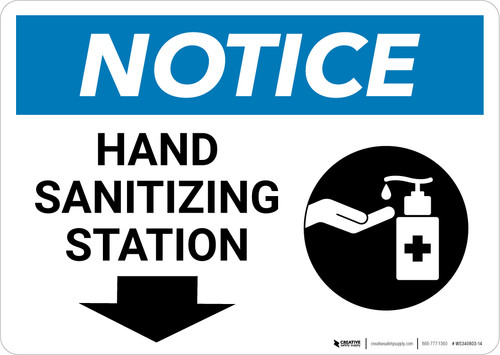 Notice: Hand Sanitizing Station Down Arrow with Icon Landscape - Wall Sign
