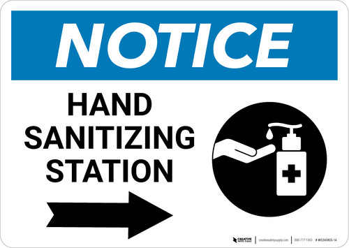 Notice: Hand Sanitizing Station Right Arrow with Icon  Landscape - Wall Sign