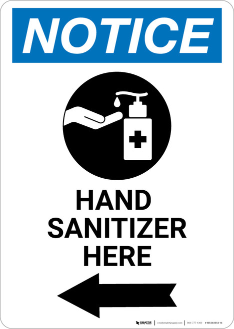 Notice: Hand Sanitizer Here Left Arrow with Icon Portrait - Wall Sign