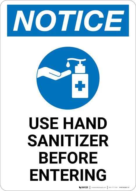 Notice: Please Use Provided Sanitizer Before Entering with Icon Portrait - Wall Sign