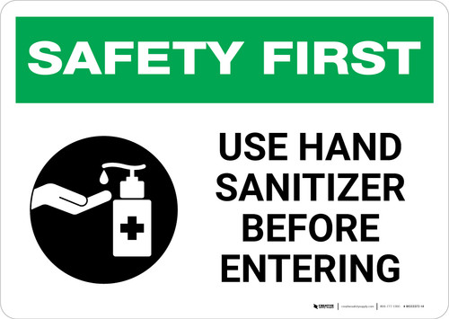 Safety First: Use Hand Sanitizer Before Entering with Icon Landscape - Wall Sign