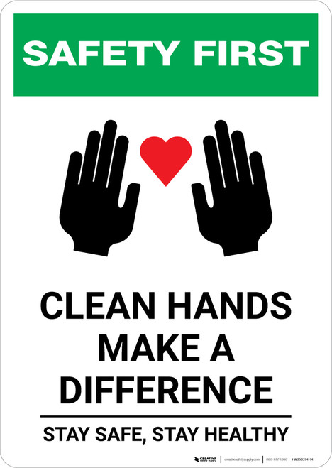 Safety First: Clean Hands Make A Difference with Icons Portrait - Wall Sign