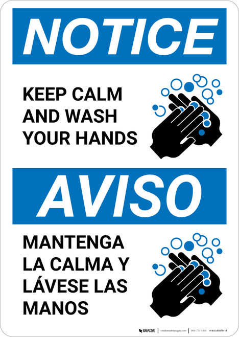 Notice: Keep Calm and Wash Your Hands Bilingual with Icon Portrait - Wall Sign
