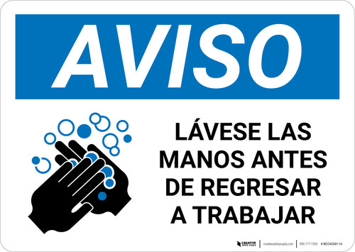 Notice: Wash Hands Before Returning To Work Spanish with Icon Landscape - Wall Sign