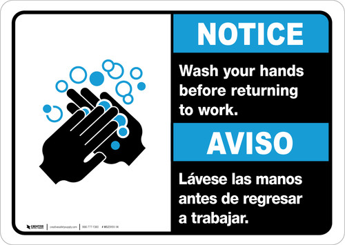 Notice: Wash Hands Before Returning To Work Bilingual with Icon ANSI Landscape - Wall Sign