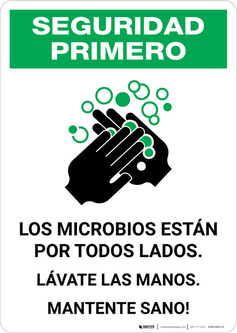 Safety First: Stay Healthy Wash Your Hands Spanish with Icon Portrait - Wall Sign