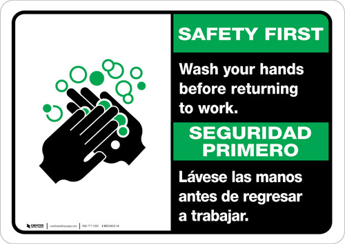 Safety First: Wash Hands Before Returning To Work Bilingual with Icon Landscape - Wall Sign