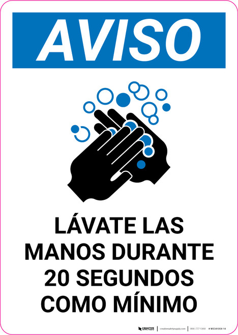 Notice: Reminder To Wash Hands Spanish with Icon Portrait - Wall Sign
