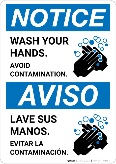 Notice: Wash Your Hands Avoid Contamination Bilingual with Icon Portrait - Wall Sign