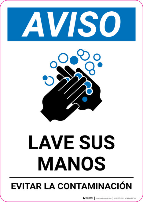 Notice: Wash Your Hands Avoid Contamination Spanish With Icon Portrait - Wall Sign