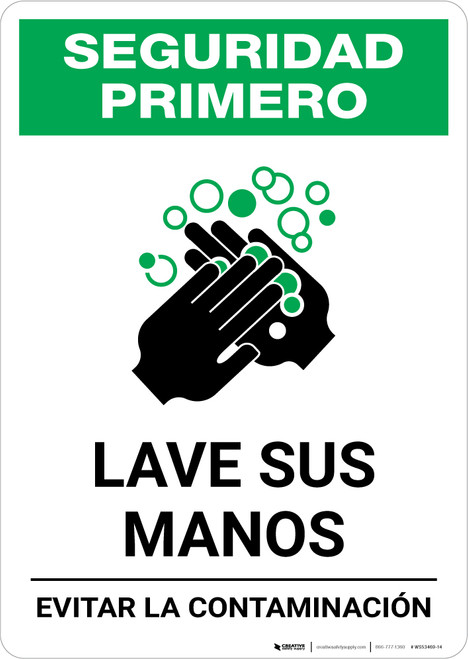 Safety First: Wash Your Hands Avoid Contamination Spanish with Icon Portrait - Wall Sign