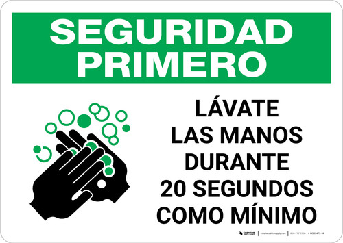 Safety First: Wash Your Hands For At Least 20 Seconds Spanish with Icon Landscape - Wall Sign