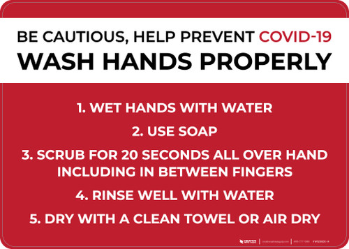 Be Cautious Help Prevent COVID-19 Wash Hands Properly Landscape - Wall Sign