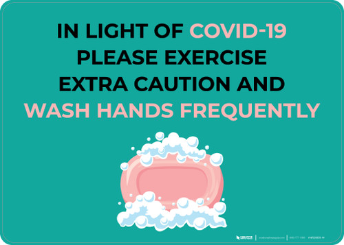 In Light Of COVID-19 Please Wash Hands Frequently with Icon Landscape - Wall Sign