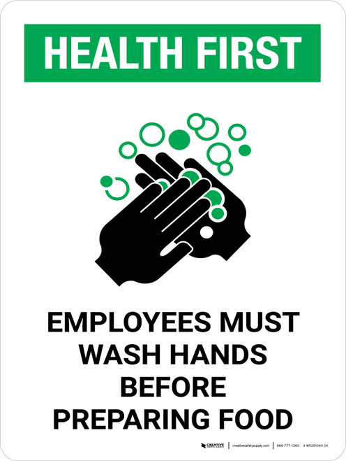 Health First Portrait Employees Wash Hands Before Preparing Food with Icon Portrait - Wall Sign