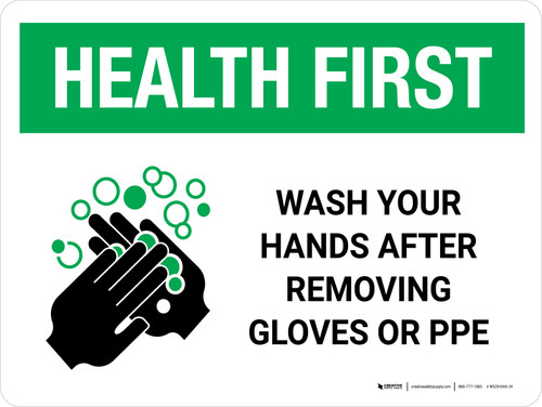 Health First Wash Your Hands After Removing PPE with Icon Landscape - Wall Sign