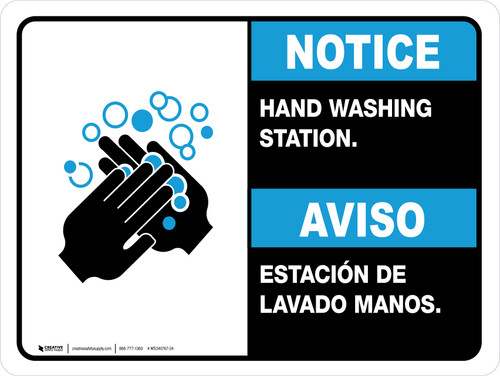 Notice Hand Washing Station Bilingual with Icon ANSI Landscape - Wall Sign