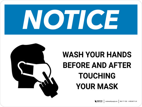 Notice Wash Hands Before & After Touching Mask with Icon Landscape - Wall Sign