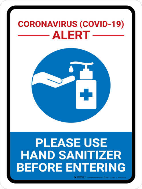 Coronavirus Alert - Please Use Hand Sanitizer Portrait - Wall Sign
