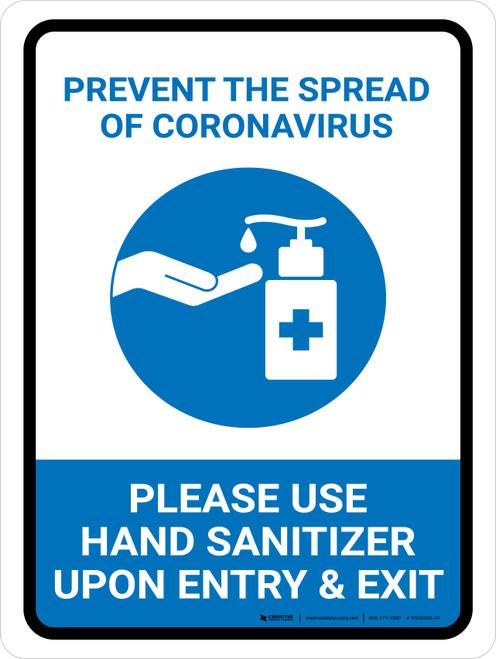 Prevent The Spread Of Coronavirus - Please Use Hand Sanitizer Portrait - Wall Sign