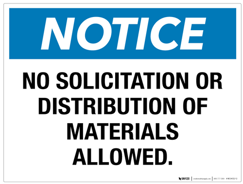 Notice: No Solicitation or Distribution - Wall Sign
