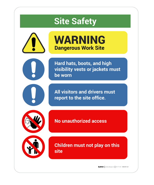 Construction Safety Site Notice - Wall Sign