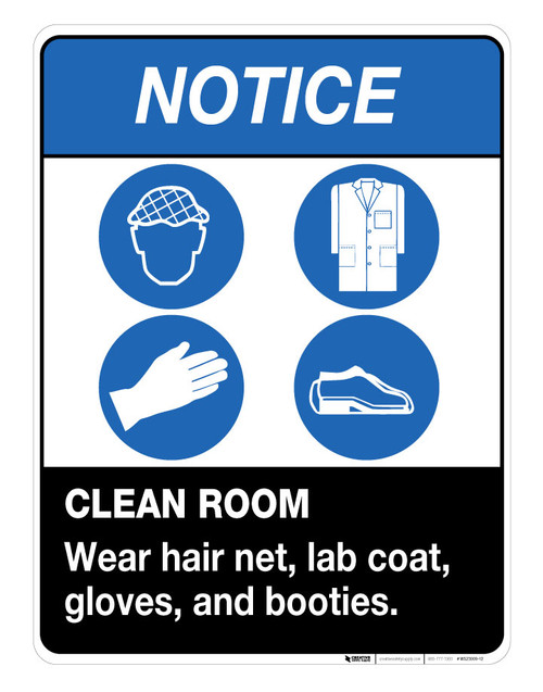 NOTICE-Clean Room - Wall Sign