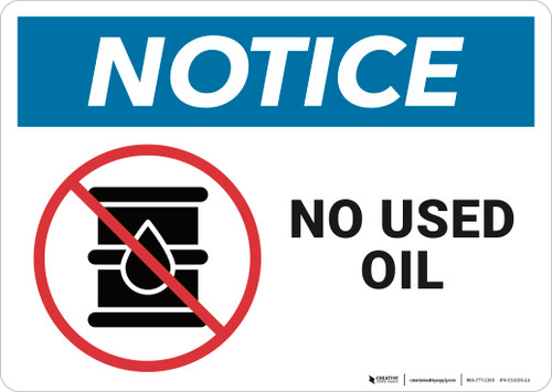 Notice: No Used Oil - Wall Sign