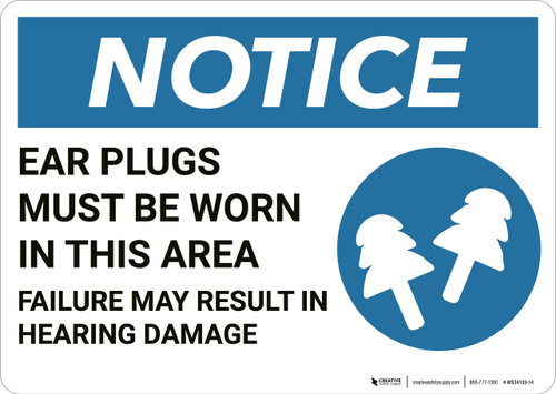 Notice: Ear Plugs Must Be Worn In This Area - Wall Sign