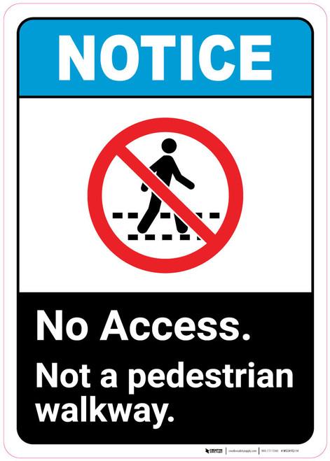 Notice: Not A Pedestrian Walkway - Wall Sign
