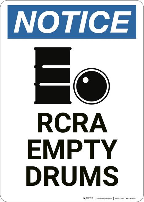 Notice: RCRA Empty Drums - Wall Sign
