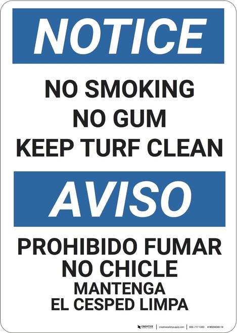 Notice: No Smoking No Gum - Wall Sign