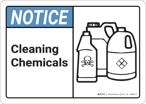 Notice: Cleaning Chemicals ANSI - Wall Sign