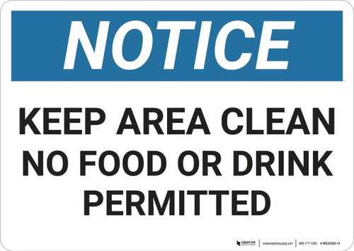 Notice: Clean Sink - Wall Sign