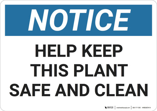 Notice: Housekeeping Plant Clean Safe - Wall Sign