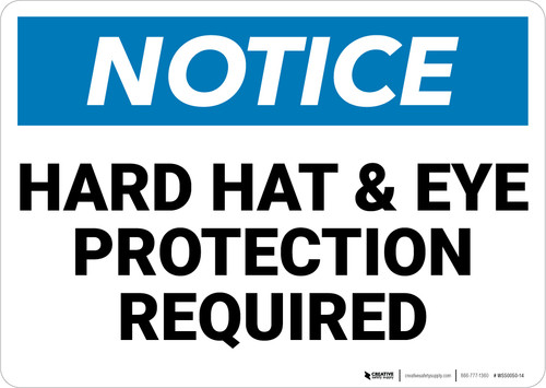 Notice: Hard Hat and Eye Protection Required - Wall Sign