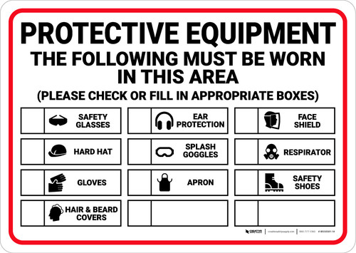 Notice: PPE The Following Must Be Worn in This Area - Wall Sign