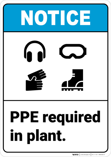 Notice: PPE Required In Plant ANSI - Wall Sign