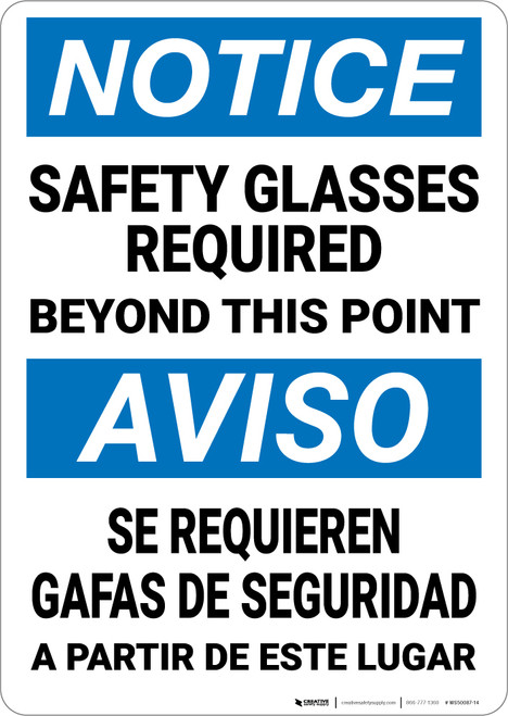 Notice: Safety Glasses Required Bilingual Spanish - Wall Sign