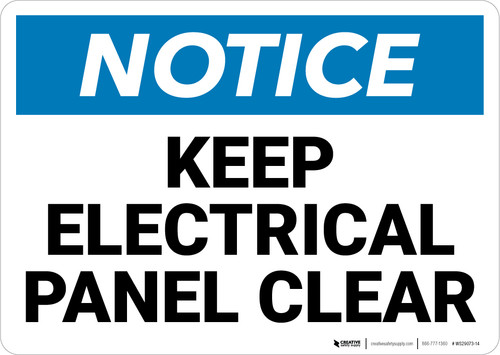 Notice: Keep Electrical Panel Clear - Wall Sign