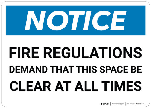 Notice: Emergency Fire Space Clear - Wall Sign