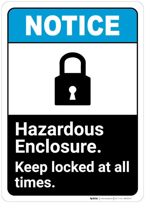 Notice: Hazardous Enclosure Keep Locked Always - Wall Sign