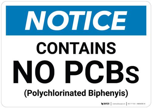 Notice: Public Health Contains No PCBs - Wall Sign