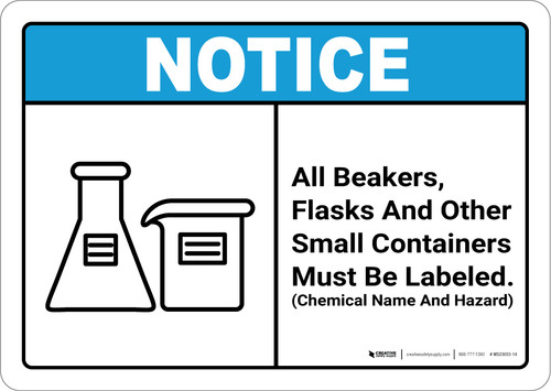 Notice: All Beakers Flasks And Other Small Containers - Wall Sign
