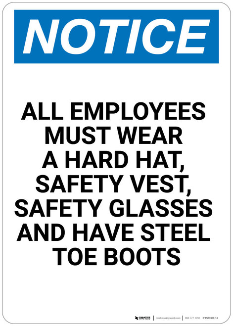 Notice: All Employees Must Wear Portrait - Wall Sign