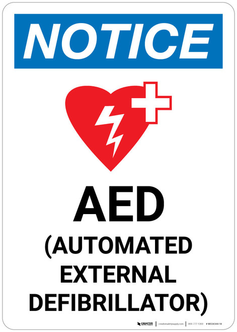 Notice: AED (Automated External Defibrillator) Portrait With Icon - Wall Sign