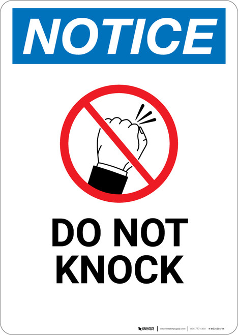 Notice: Do Not Knock with Icon - Wall Sign