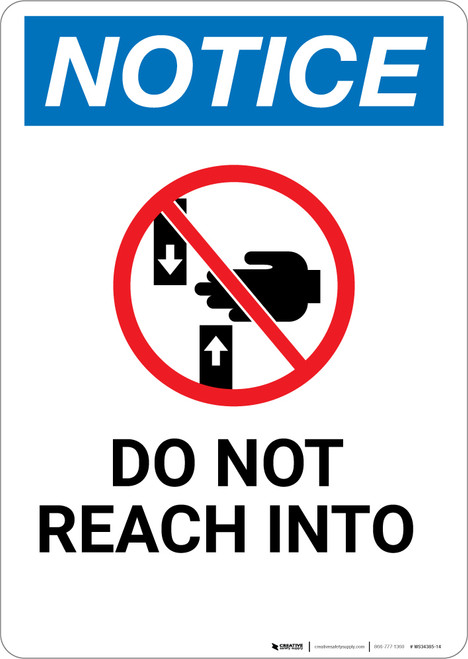 Notice: Do Not Reach Into with Icon - Wall Sign